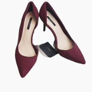NWT! Forever 21 Burgundy Pointed Toe Heels 7.5